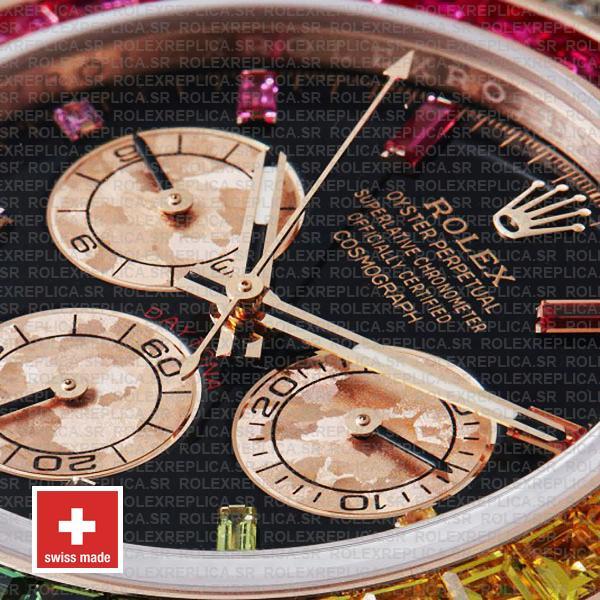 Rolex Cosmograph Daytona 18k Rose Gold Black Gem Dial & Rainbow Sapphire Bezel Diamond Set Case