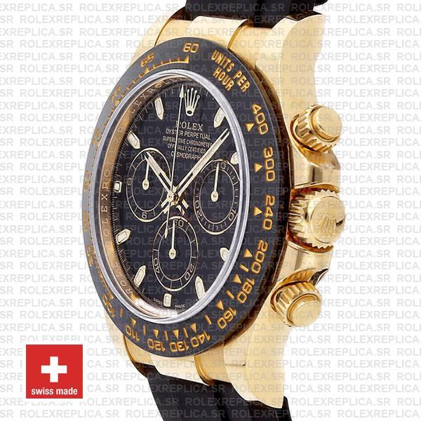 Rolex Oyster Perpetual Cosmograph Daytona 18k Yellow Gold Black Dial 40mm Ceramic Bezel Replica Watch