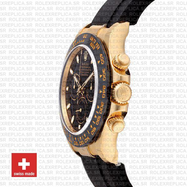 Rolex Daytona Gold Black Dial Rubber Strap Replica Watch