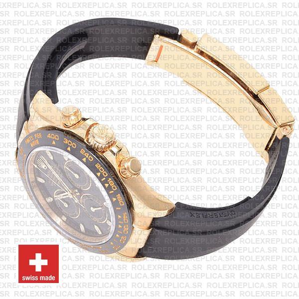 Rolex Daytona Rubber 18k Yellow Gold Ceramic Bezel Black Dial 40mm 116518