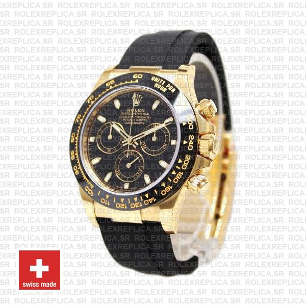 Rolex Daytona Rubber 18k Yellow Gold Ceramic Bezel Black Dial 40mm 116518