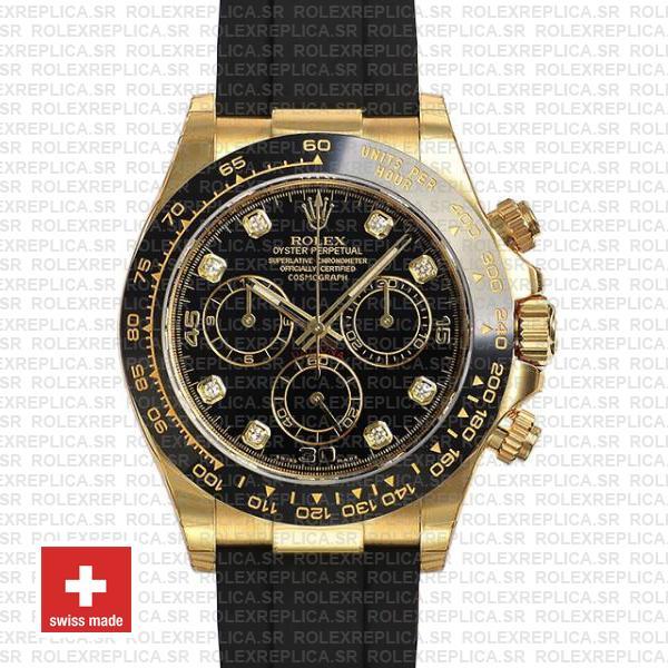 Rolex Daytona Yellow Gold Rubber Black Diamond Dial Watch