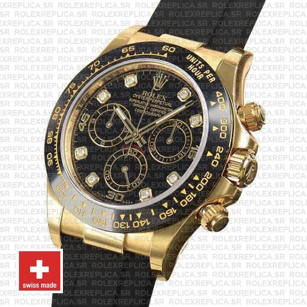 Rolex Daytona Yellow Gold Rubber Black Diamond Dial Replica Watch