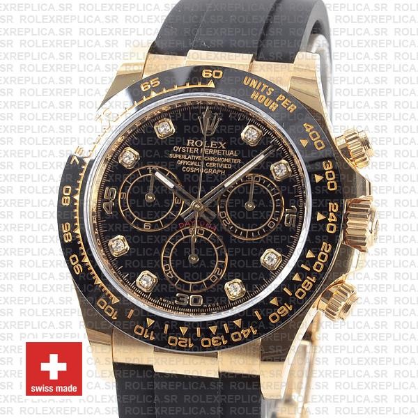 Rolex Oyster Perpetual Cosmograph Daytona Rubber Strap 18k Yellow Gold
