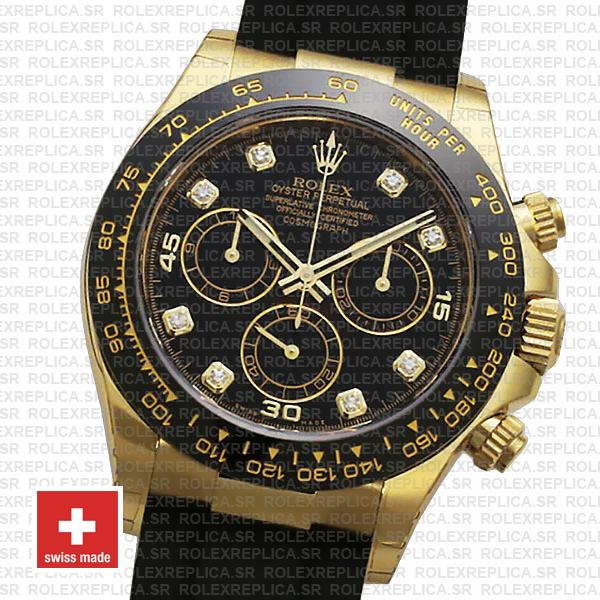 Rolex Oyster Perpetual Cosmograph Daytona Rubber Strap 18k Yellow Gold Watch