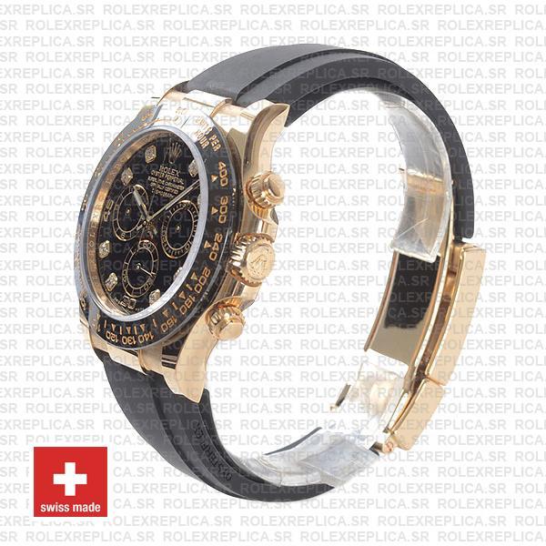 Rolex Daytona Rubber 18k Yellow Gold Ceramic Bezel Black Diamond Dial 40mm 116518