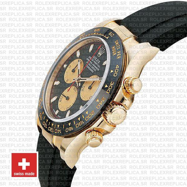 Rolex Daytona Gold Black Panda Dial Ceramic Bezel Replica Watch