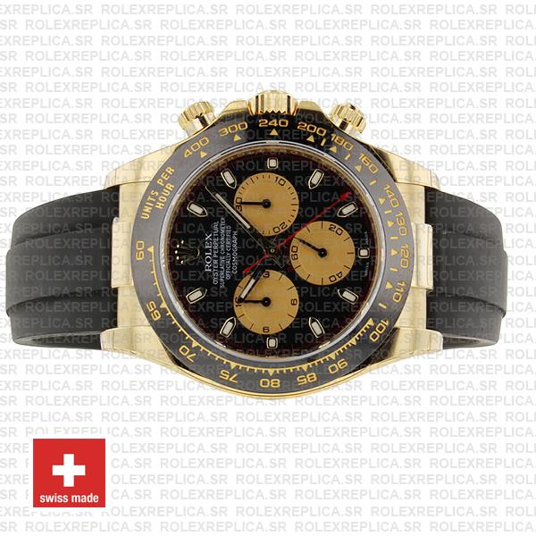 Rolex Cosmograph Daytona 18k Yellow Gold Black Panda Dial 40mm, comes with Rubber Strap
