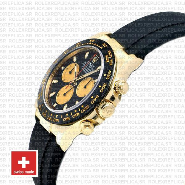 Rolex Cosmograph Daytona 18k Yellow Gold Black Panda Dial 40mm, comes with Rubber Strap Watch