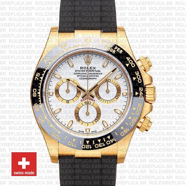 Rolex Daytona Yellow Gold Rubber White Dial   Rolex Replica