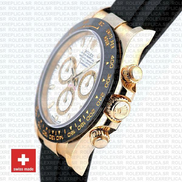 Rolex Daytona Yellow Gold Rubber White Dial Rolex Replica Watch