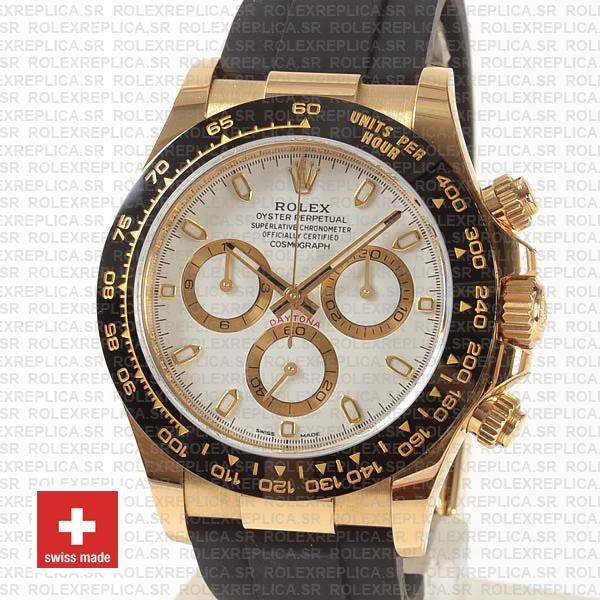 Rolex Cosmograph Daytona Rubber Strap 18k Yellow Gold 40mm