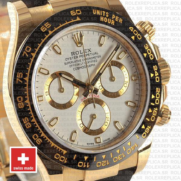 Rolex Cosmograph Daytona Rubber Strap 18k Yellow Gold 40mm 904L Stainless Steel