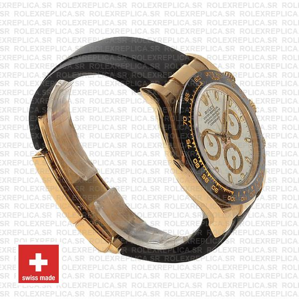 Rolex Cosmograph Daytona Rubber Strap 18k Yellow Gold 40mm 904L Stainless Steel White Dial