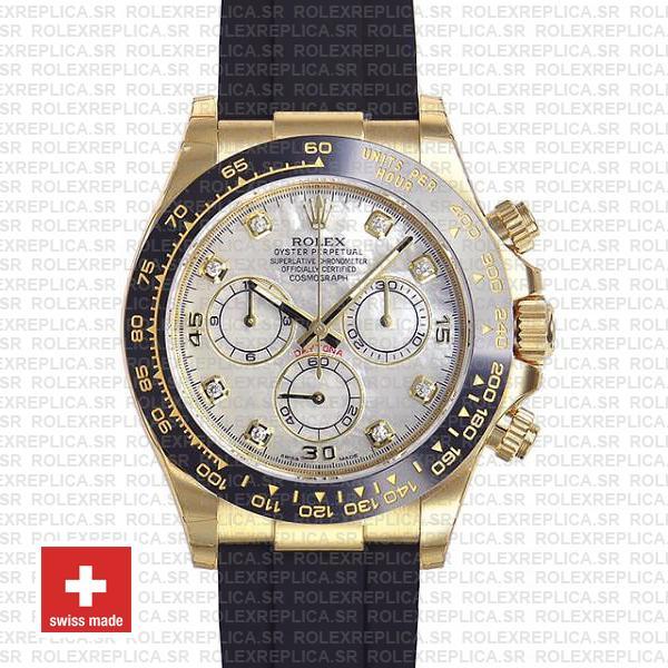 Rolex Daytona Gold Rubber Strap White MOP Diamond Watch