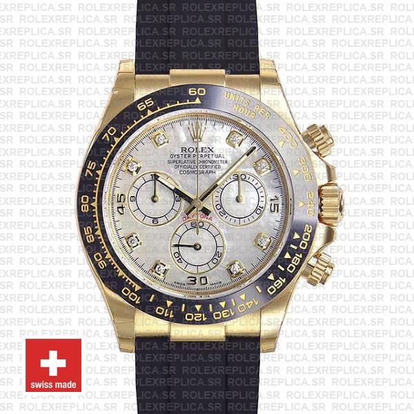 Rolex Daytona Rubber 18k Yellow Gold Ceramic Bezel White Mop Diamond Dial 40mm 116518