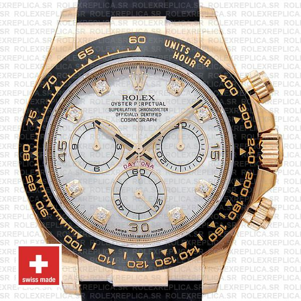 Rolex Oyster Perpetual Cosmograph Daytona 18k Yellow Gold White MOP Dial Diamond Markers Watch