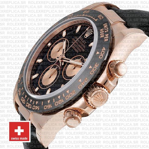 Rolex Daytona 18k Rose Gold Black Dial | Rolex Replica Watch