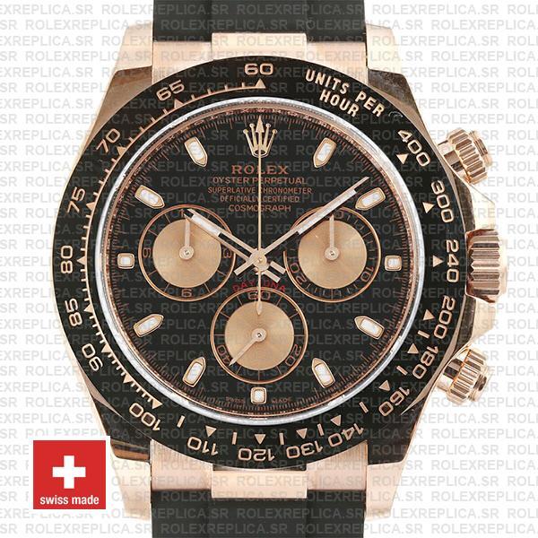 Rolex Daytona 18k Rose Gold Black Dial Rolex Replica Watch