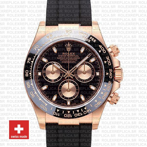 Rolex Daytona Rubber Rose Gold Black Ceramic 40mm 116515 Swiss Replica