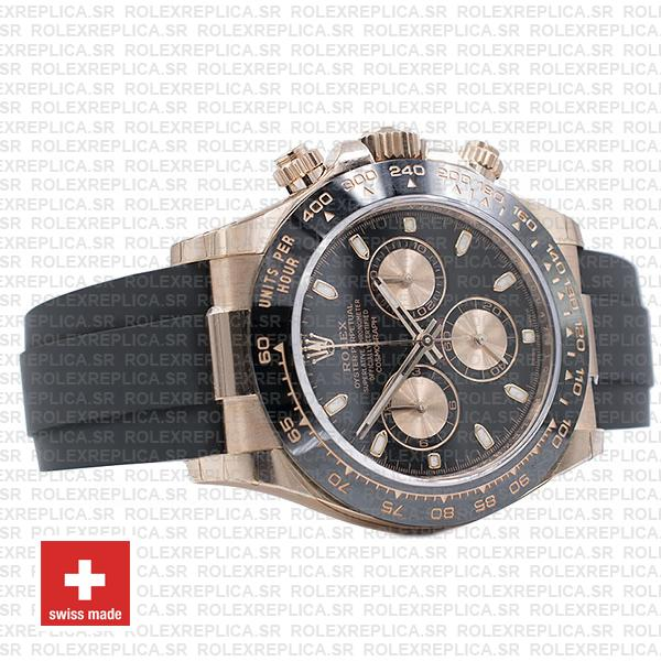 Rolex Cosmograph Daytona 18k Rose Gold Black Dial 40mm, comes with Rubber Strap