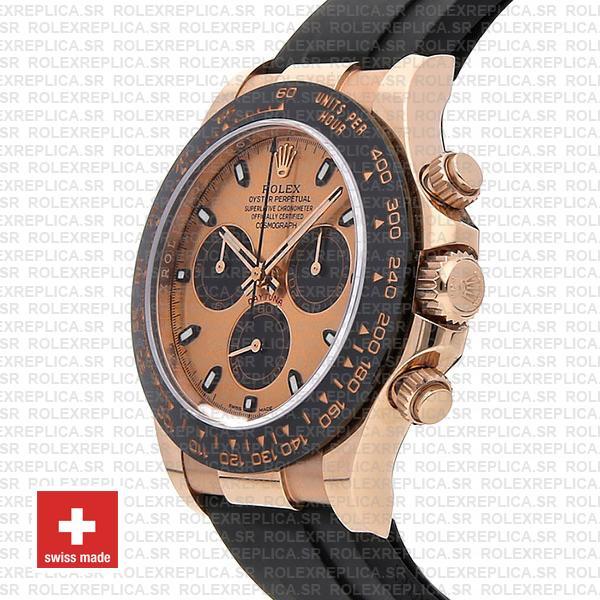 Rolex Daytona Rubber Rose Gold Pink Black Ceramic 40mm 116515 Swiss Replica