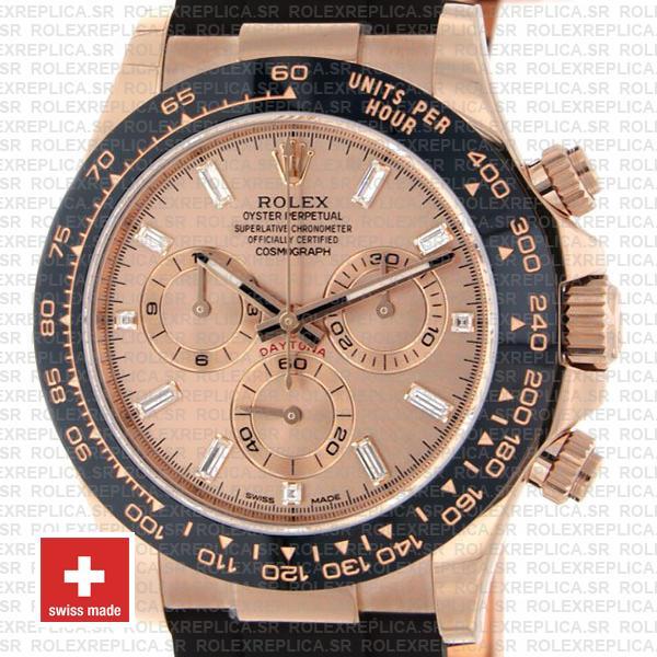 Rolex Daytona Rubber Rose Gold Pink Diamond Ceramic 40mm 116515 Swiss Replica