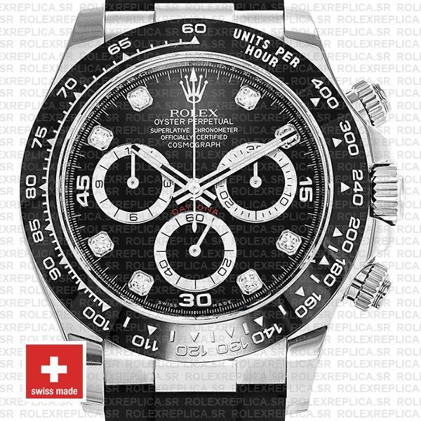 Rolex Daytona White Gold Rubber Strap Black Diamond Dial Replica Watch