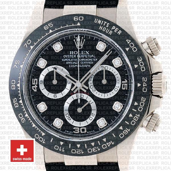 Rolex Daytona White Gold Rubber Strap Black Diamond Dial Rolex Replica Watch