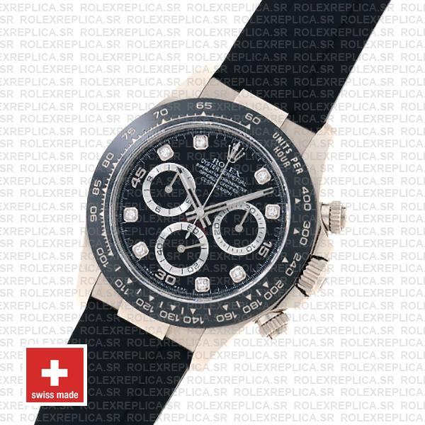 Rolex Cosmograph Daytona Rubber Strap 18k White Gold 904L Steel Black Diamond Dial