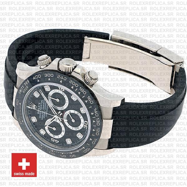 Rolex Cosmograph Daytona Rubber Strap 18k White Gold 904L Steel Black Diamond Dial Ceramic Bezel