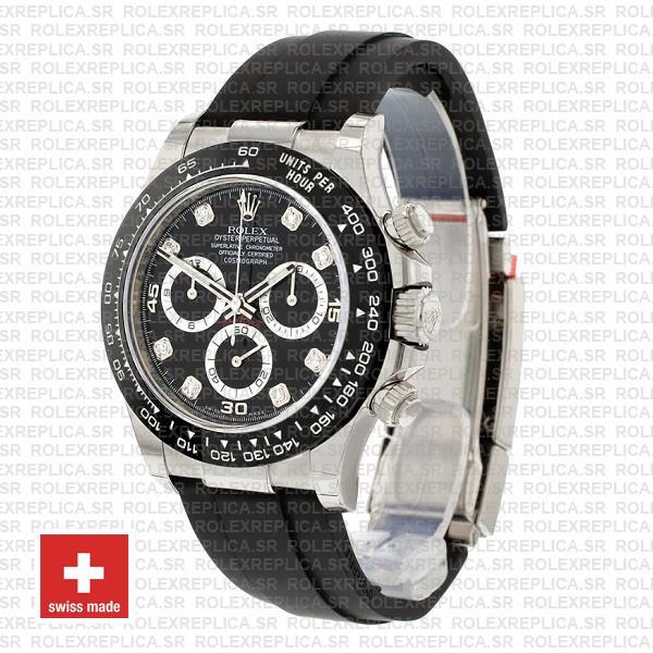 Rolex Cosmograph Daytona Rubber Strap 18k White Gold 904L Steel Black Diamond Dial Ceramic Bezel 40mm