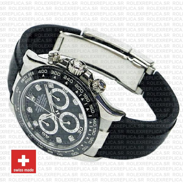 Rolex Cosmograph Daytona Rubber Strap 18k White Gold 904L Steel Black Diamond Dial Ceramic Bezel 40mm Watch