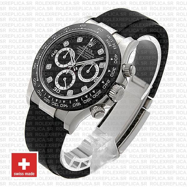 Rolex Daytona Rubber White Gold Black Diamond Dial Ceramic Bezel 40mm 116519ln