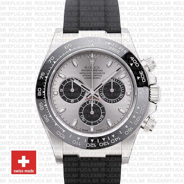 Rolex Daytona 18k White Gold Rubber Strap Silver Dial Watch