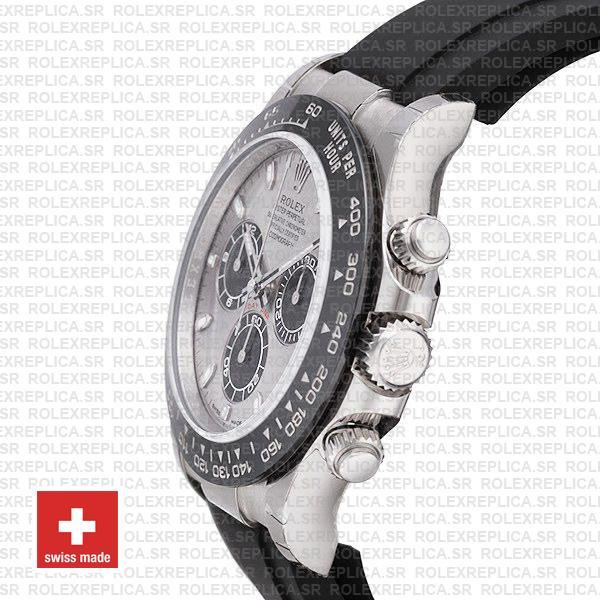 Rolex Daytona 18k White Gold Rubber Strap Silver Dial Replica Watch