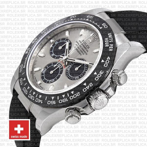 Rolex Cosmograph Daytona 18k White Gold Silver Panda Dial, Oysterflex Rubber Bracelet 40mm