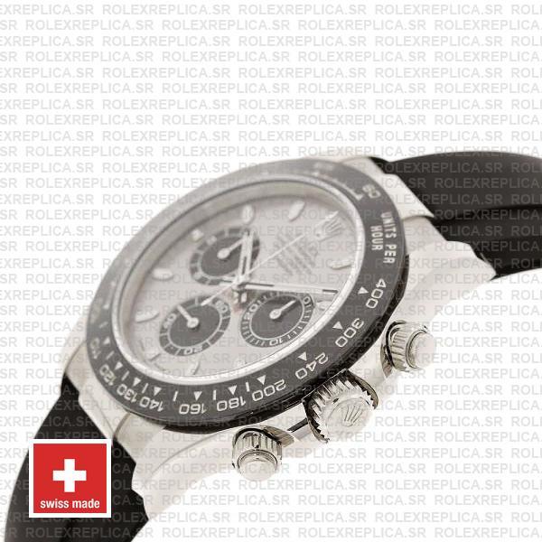 Rolex Cosmograph Daytona 18k White Gold Silver Panda Dial, Oysterflex Rubber Bracelet