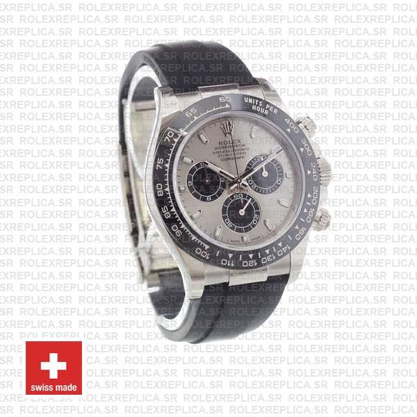 Rolex Daytona 18k White Gold Rubber Strap Silver Dial Swiss Replica Watch