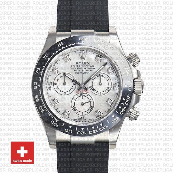 Rolex Daytona White Gold Diamond Dial Rubber Strap Replica Watch