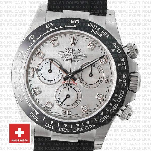Rolex Cosmograph Daytona Oysterflex Rubber Bracelet, 18k White Gold White MOP Dial Diamond Watch