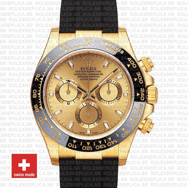 Rolex Daytona 18k Yellow Gold Rubber Strap | Replica Watch