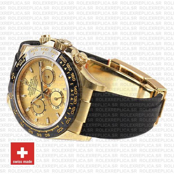 Rolex Daytona 18k Yellow Gold Rubber Strap Replica Watch