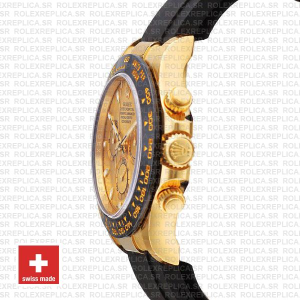 Rolex Daytona 18k Yellow Gold Rubber Strap Swiss Replica Watch