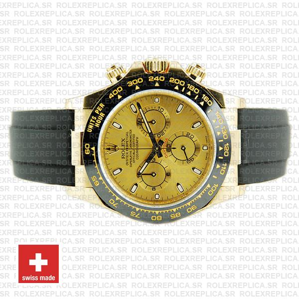 Rolex Oyster Perpetual Cosmograph Daytona Gold Dial 18k Yellow Gold 40mm Ceramic Bezel with Rubber Strap