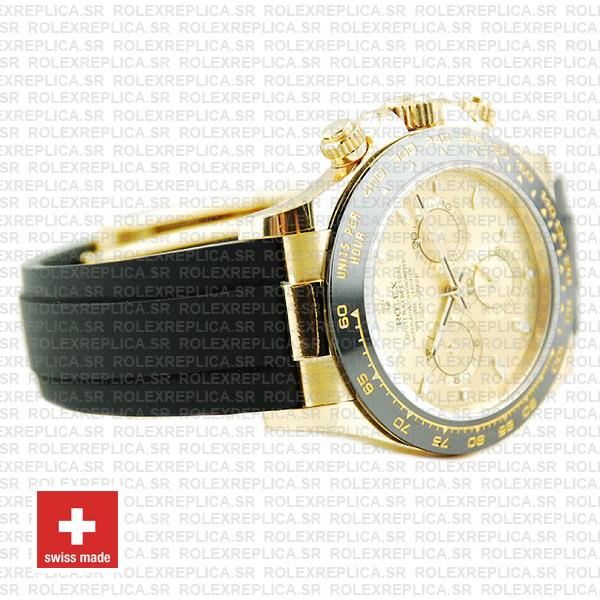 Rolex Oyster Perpetual Cosmograph Daytona Gold Dial 18k Yellow Gold 40mm Ceramic Bezel with Rubber Strap Watch