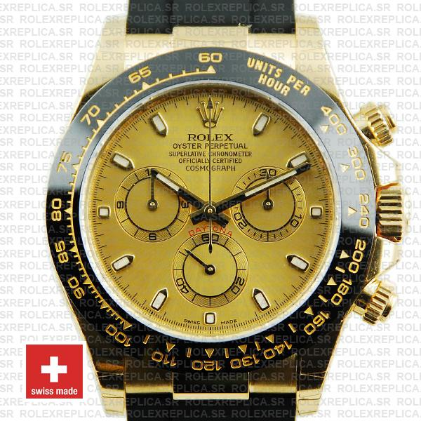 Rolex Oyster Perpetual Cosmograph Daytona Gold Dial 18k Yellow Gold 40mm Ceramic Bezel with Rubber Strap Replica Watch