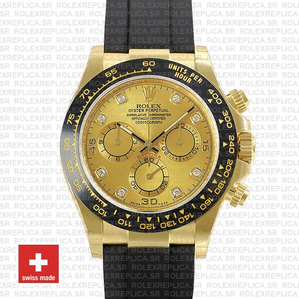 Rolex Daytona Gold Ceramic Bezel   Gold Diamond Dial Watch
