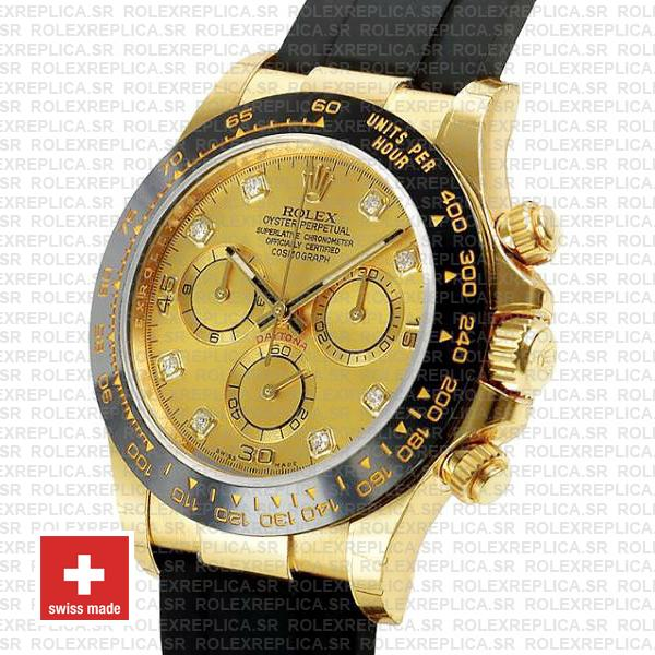 Rolex Daytona Gold Ceramic Bezel   Gold Diamond Dial Replica Watch
