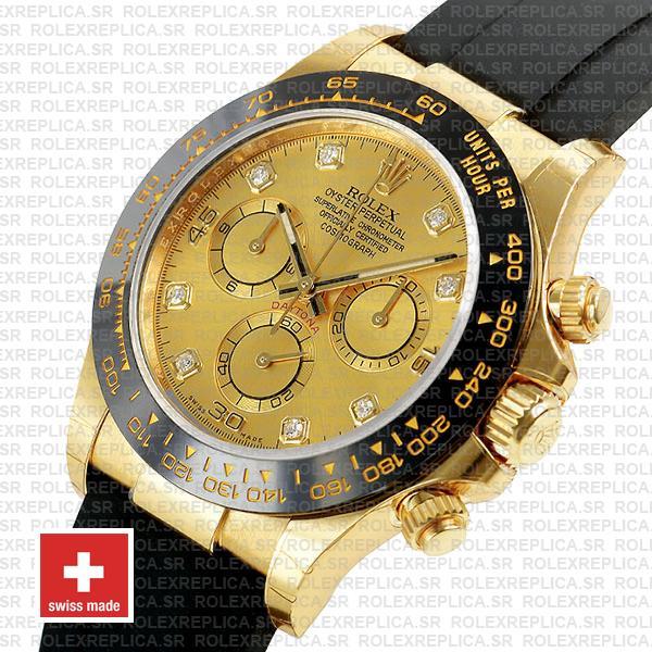 Rolex Cosmograph Daytona Rubber Strap 18k Yellow Gold, Ceramic Bezel 904L Steel Gold Dial Diamond